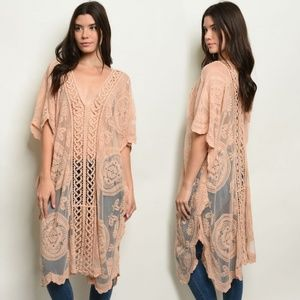 Dresses & Skirts - Frieda's Taupe Embroidered Lace Boho Cover UP! <3